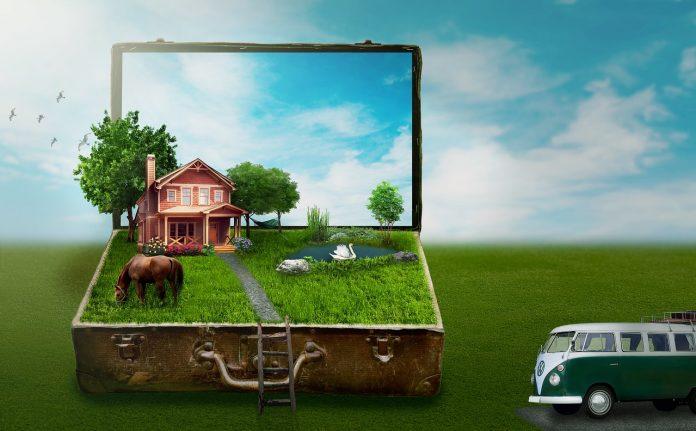 betonova-dzungla-dom-stromy-trava-kufor-zelen-kon-modra-obloha-chladenie-bez-klimy