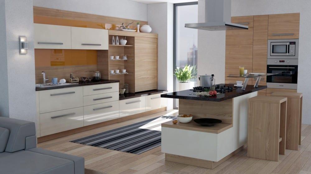 kuchyna-kuchynska-linka-skrinky-ostrovcek-digestor-drevo-chladnicka