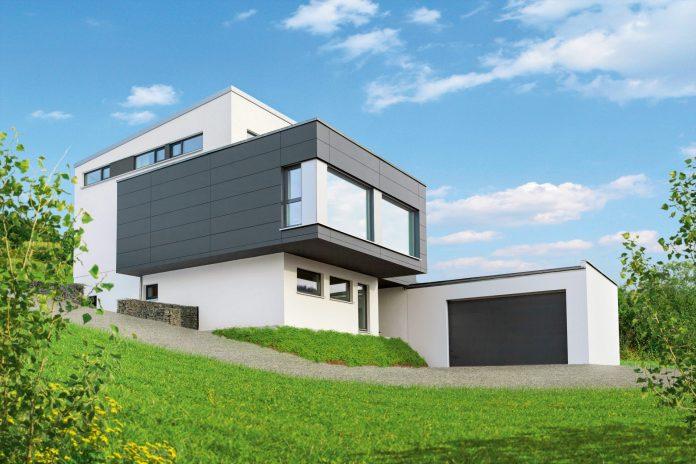 dom-moderne-byvanie-travnik-zahrada-stromy-garaz-okna